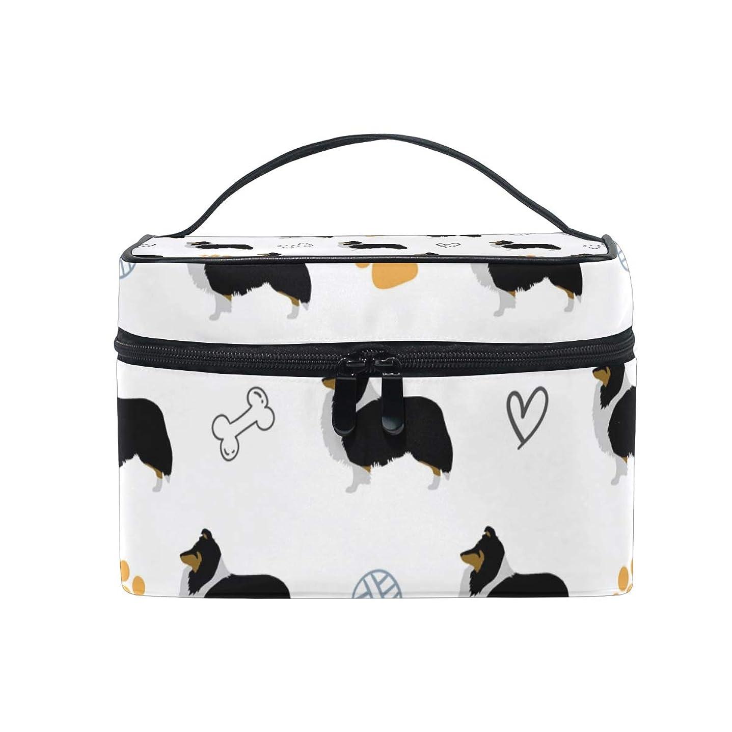 値同様の飢えメイクボックス 面白い シェットランドシープドッグ柄 化粧ポーチ 化粧品 化粧道具 小物入れ メイクブラシバッグ 大容量 旅行用 収納ケース