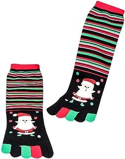 GoodLock Unisex Christmas Funny Socks Print Multicolor Toe Socks Five Finger Cotton Socks