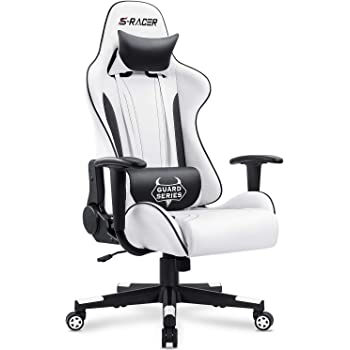 Amazon Com Homall Gaming Chair Office Chair High Back Racing Computer Desk Chair Pu Leather Chair Executive And Ergonomic Swivel Chair With Headrest And Lumbar Support White Kitchen Dining