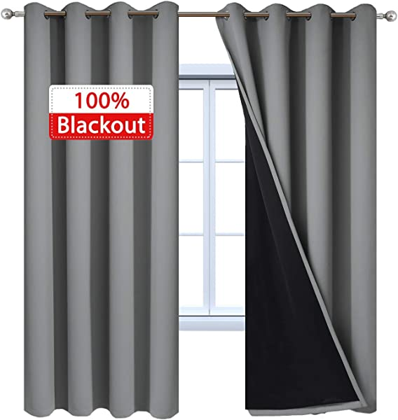 Yakamok 100 Blackout Curtains 84 Inches Long 2 Thick Layers Heat And Full Light Blocking Soft Thermal Insulated Drapes For Bedroom 52 Wide Each Panel Grey 2 Panels