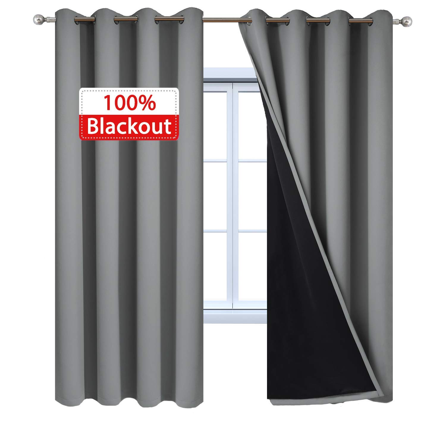 Yakamok Blackout Curtains Insulated Soundproof