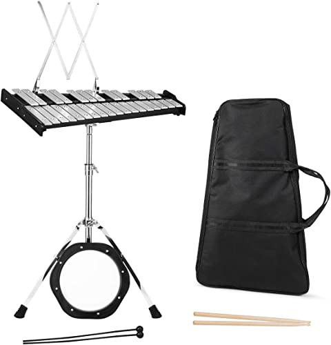 """lowest Giantex Percussion Glockenspiel Bell Kit 30 outlet online sale Notes, with Electroplated Adjustable Height Frame, Music Stand, an 8"""" Practice Pad, and lowest a Pair of Bell Mallets & Wooden Drumsticks, Carrying Bag sale"""