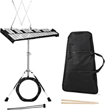 Giantex Percussion Glockenspiel Bell Kit 30 Notes, with Electroplated Adjustable Height Frame, Music Stand, an 8