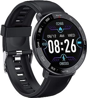 JessFash Reloj Inteligente Actividad Rastreador de Ejercicios Calorías Reloj Contador de Pasos Pantalla táctil a Color Monitor de sueño y frecuencia cardíaca Reloj Inteligente con podómetro