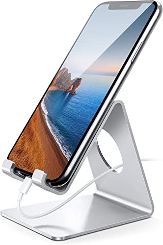 Lamicall Cell Phone Stand, Phone Dock: Cradle Holder Stand Compatible with Switch, All Android Smartphone, Phone 6 6s 7 8 X Plus 5 5s 5c XS Max XR Charging, Accessories Desk - Silver product image