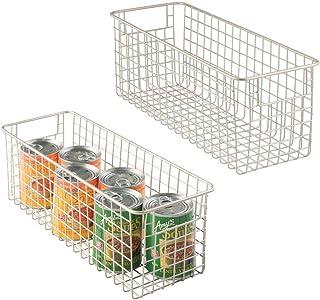 mDesign Juego de 2 cestas de almacenaje multiuso – Cestas