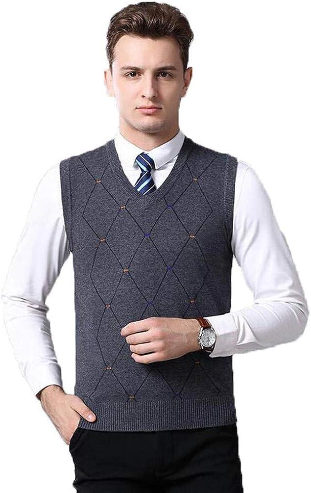 Men Plaid Knitted Vest Long Beach Mall Autumn Milwaukee Mall Winter Pullovers Slee Wool