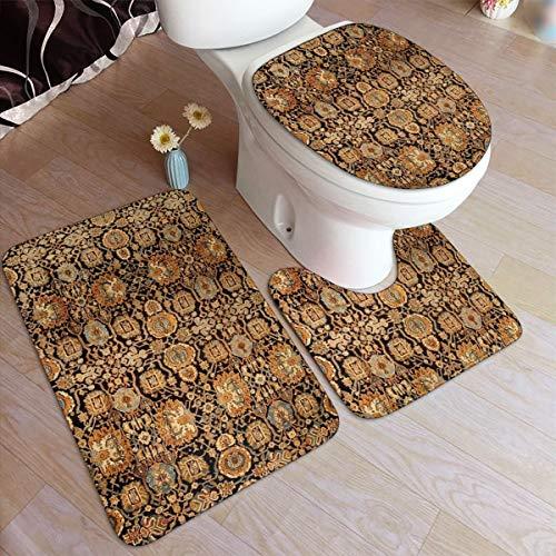 Beauty-Design Antik Perser Malayer Teppich Badteppich Set 3-teilig Antirutsch Saugstark Badteppich U-Form WC Vorleger länglich WC-Deckel Deckel