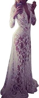 Vestido Verano Elegantes cordón v Cuello Mangas Largo Transparente Vestidos Bodas Largos Vestidos Noche