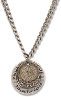Anisch de la Cara Hombre Cadena Moneda Doble - Collar de Hombre Hakuna Matata Plata Antigua