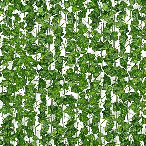 AUMERIT 24 Pcs 172ft Artificial Ivy Fake Vine Garland Ivy UV Resistant, Home Kitchen Garden Office Party Wedding Wall Decoration