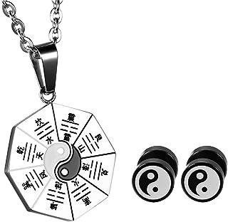 Aroncent, orecchini e collana da uomo in acciaio inox con ciondolo yin e yang, collana lunga 55 cm