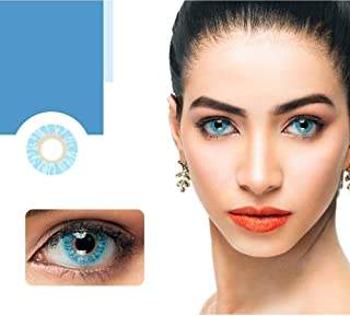 Women Cute Colored Cosmetic Contact Lenses Multicolor Eyes Lenses for Cocktail Party with Case (A Pair)