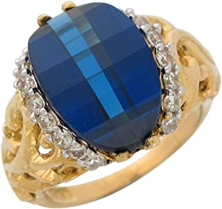 14k Gold Simulated Sapphire and White CZ Ladies Vine September Birthstone Ring