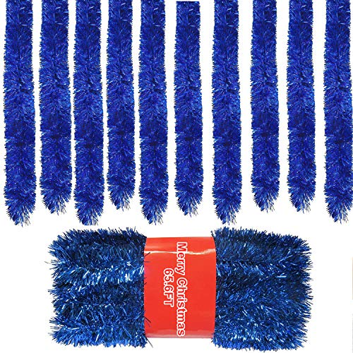 65.6ft Royal Blue Tinsel Garland,(22 Yards) Commercial Length Thick Foil Classic Christmas Decorations for Christmas Tree Decorations X-mas Home Party Decor, 3 Inch Wide …