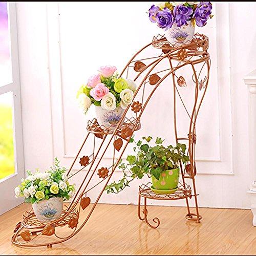 LLLXUHA Art de Fer Métal Multi-Couche Support de Fleurs, Chaussures à Talons Hauts Au Sol Présentoir, intérieur De Plein air Multifonction Planter des Fleurs Pot de Fleurs, Or, 90 * 25 * 80cm