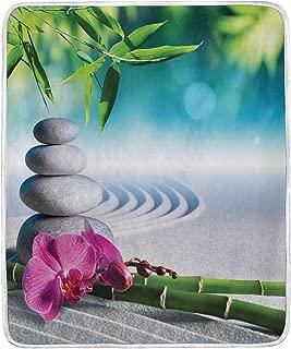 JOSENI Throw Blanket,Sand Orchid Massage Stones in Zen Garden Sunny Day Meditation,Microfiber All Season Bed Couch,36