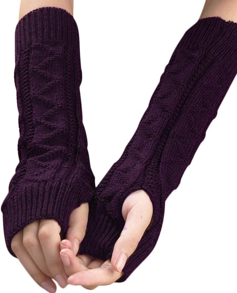 Wool Gloves Winter Arm Warm Long Knitted Gloves Keyboard Leak Finger Gloves Lady Girls Hand Mittens Women's Fingerless Glove 5
