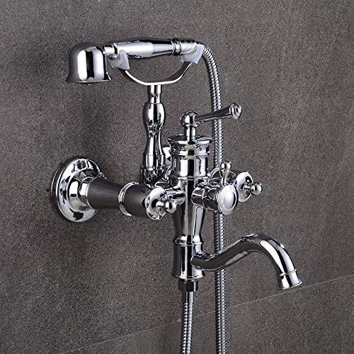 BALLYE Negro Plata nórdico Todo-Cobre bañera Ducha de Pared montado en la Pared Simple Americano Grifo de Agua fría y Caliente pequeña Ducha Grifo de Ducha Conjunto
