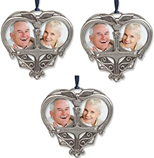 BANBERRY DESIGNS Memorial Photo Ornament - Double Picture Opening - in Loving Memory Christmas Ornament - Loss of a Loved One Gift - Remembrance Ornament - Bereavement Gifts- 3 Pack