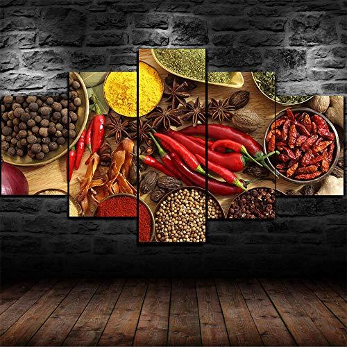AWER Decoracion Salon 5 Piezas de Arte Marco,Moderno HD sobre lienzos impresión Cuadro Usado para Hogar Oficina Regalo,Especias Pepper Chilli Albahaca Nuezmeg,Tamaño Total: (H-80cm x M/B-150 cm)
