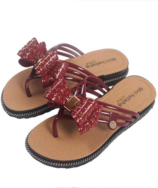 T-JULY Women Bowtie Jelly Flip Flops shoes Women Sandals Femals Beach shoes Outside Summer Slippers