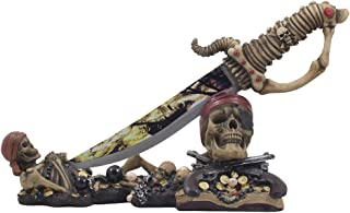 Caribbean Skeleton Pirates Knife Display Stand Statue with Skull and Crossbones for Tropical & Nautical Decor Dagger Holders or Spooky Halloween Decorations As Buccaneer Gifts