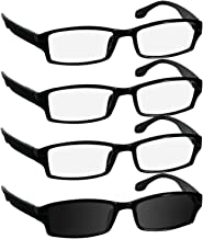 Reading Glasses 2.0 3 Black 1 Sun Black Fashion Readers for Men & Women - Spring Arms & Dura-Tight Screws Have a Stylish Look and Crystal Clear Vision When You Need It!