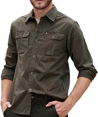 Men's Slim Fit Lightweight Sportswear Jacket Long Sleeve Button Down Military Style Cargo Shirt