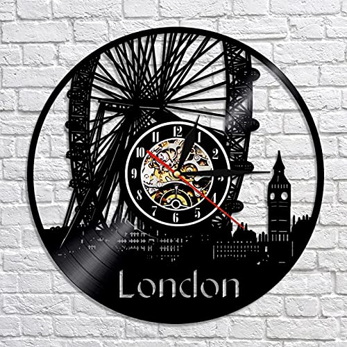 Reloj de Pared con decoración de Pared de Noria de Londres, Reloj de Pared con Disco de Vinilo London Eye, Reloj de Pared Decorativo con Big Ben de Inglaterra, Regalo de Londres