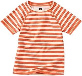 Tea Collection Rash Guard Short Sleeve Swim Shirt, Girls 7, Orange Buoy Stripe