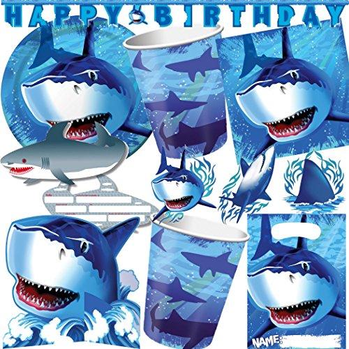 99-teiliges Party-Set * HAIE & SHARKS * für Kindergeburtstag mit 8 Kinder: Teller, Becher, Servietten, Einladungen, Partytüten, Luftballons u.v.m. // Kinder Geburtstag Partyset Kinderparty Kinderfest Fete Ball Party Deko Mottoparty Motto Set Hai Haifisch Fische