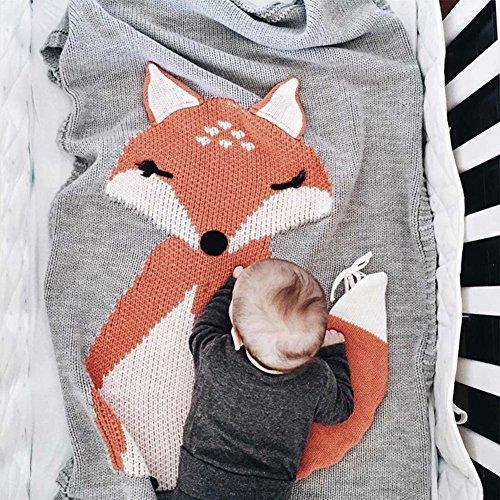 SUNBABY Lovely Fox Wool Quilt Baby Knitting Air Condition Blanket Kids Boys Girls Swaddling Sleeping Playing Crawling Mat (Light Grey)