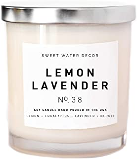 Lemon Lavender Natural Soy Wax Candle White Jar Silver Lid Scented Eucalyptus Neroli Spa Home Decor Bathroom Accessories Relaxation Bathroom Accessory Made in USA Lead Free Cotton Wick Relax Gift