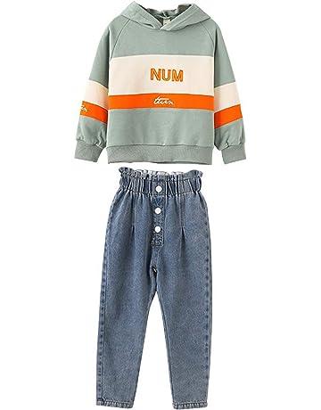 Autunno Inverno Bambino Ragazze Maglione Jeans 2 Pz Abiti Beige Manica Lunga Pullover Top+Pantaloni Lunghi Denim Vestiti Caldi