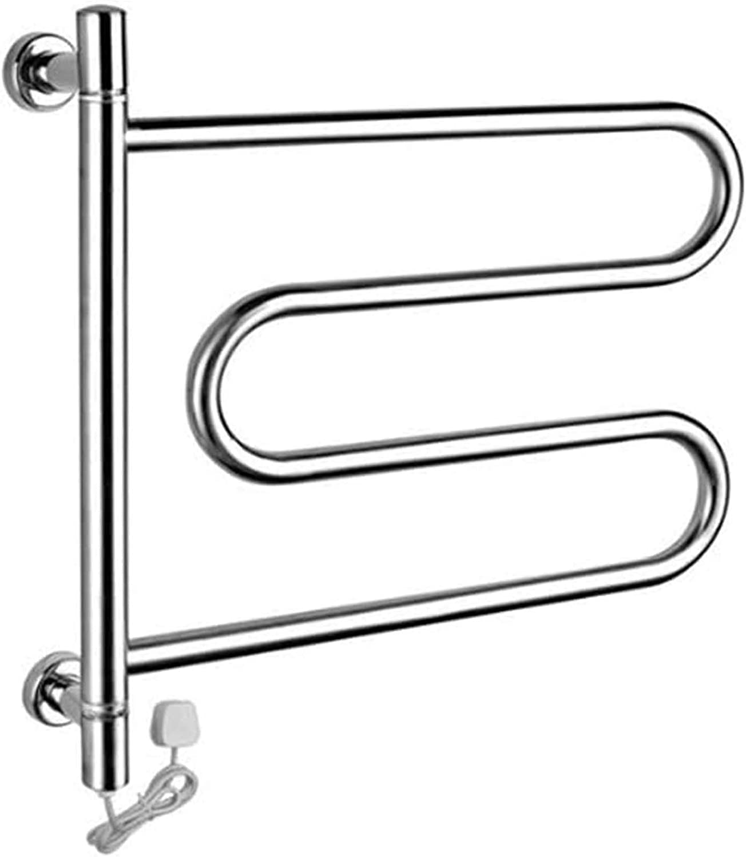 Electric Heated Towel Rack 4-Bar 5% OFF Hea half Wall-Mounted 180° Rotation