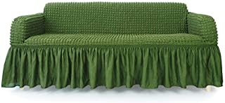 NICEEC 1-Piece Stretchable Easy Fit Sofa Cover Durable Furniture Slipcover in Country Style Made of Machine Washable and Quick-Drying Fabric for 3-seat Sofa and Couch(Sofa,Olive Green)