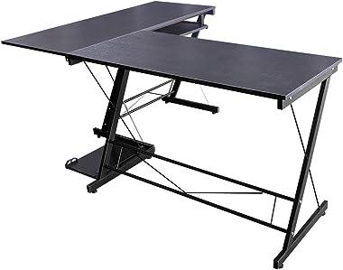 hj Escritorio Mesa L para Ordenador Oficina Estudio Esquina Madera Ajustable (Negro) 161 * 120 * 73cm