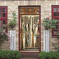 ドア壁紙 レストランホテルカフェオフィスの装飾壁画壁画デカール取り外し可能な粘着ステッカー エスニックスタイル ドアの壁紙 88 x 200 cm