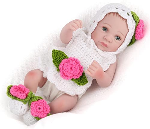 LINAG Babypuppen Reborn Baby Vinyl Realistische Silikon Weiß Lebensechte Wirkendes Neugeborene Wiedergeboren Spielkameraden Spielhausspielzeug 30cm Simulation mädchen Geschenk