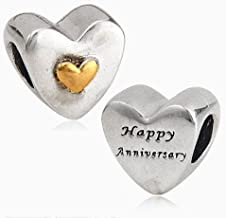 """Heart Love Charm Letter """"Happy Anniversary"""" Beads fit for DIY Charms Bracelets"""