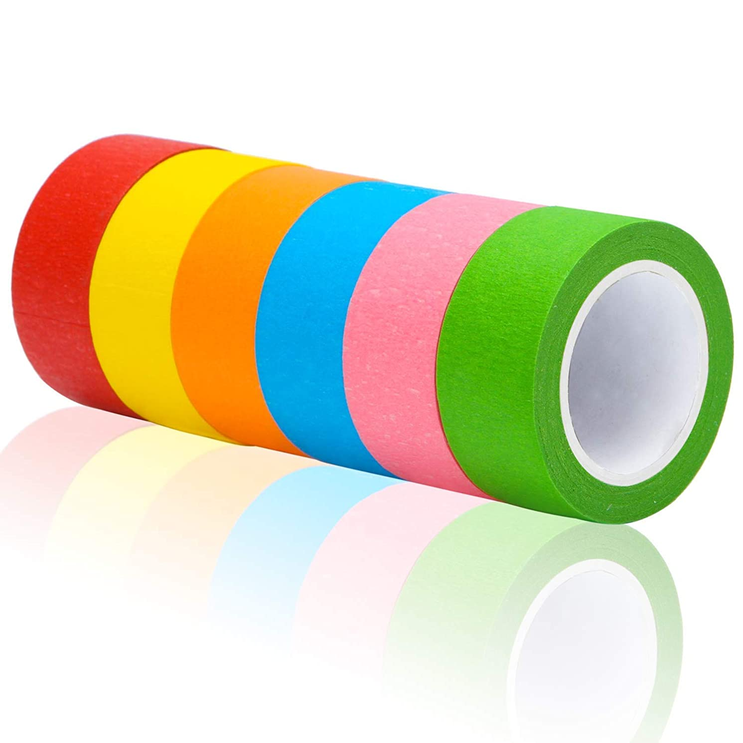 Aunifun 6 Pieces 2 Inches Colored Masking Tape Rainbow Masking Tape Labeling Tape Graphic Art Tape Roll for Fun DIY Arts Supplies Kit, 6 Colors