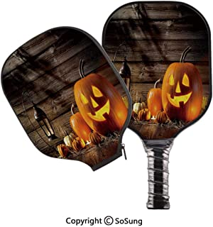 3D Print Graphite Pickleball Paddle Set,Grinning Expression Pumpkin Country House Squash Bunch on Wooden Planks Image Pop Carbon Fiber Large Lightweight Top Professional Power Outdoor Rackets for Mens