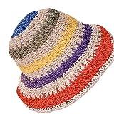 GUMEI Donna Ragazza Cappello con Visiera Parasole in Paglia Intrecciata all'Uncinetto Cappello a Secchiello Ripiegabile a Strisce Arcobaleno