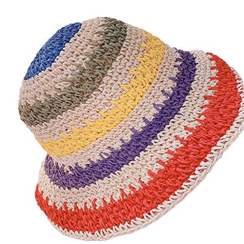 GUMEI - Sombrero de Visera de Paja Tejida a Crochet para Mujer y niña, Gorra de Cubo Plegable con Rayas arcoíris