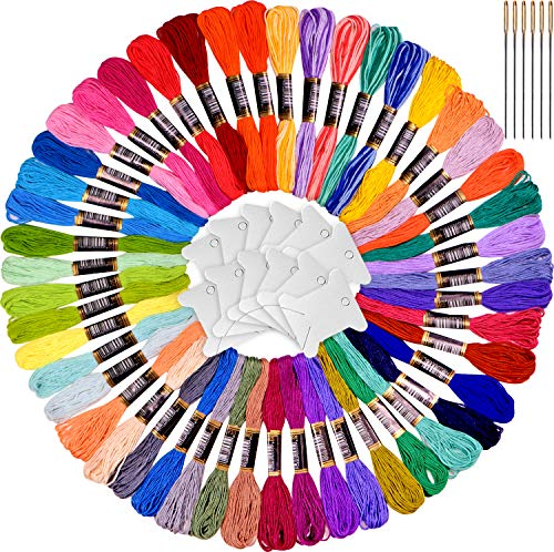 Rainbow Colors Embroidery Floss - Cross Stitch Threads Set-Friendship Bracelets Floss - Crafts Floss-48 skeins and Free Set of 4 Skeins Variegated Floss and 12pcs Floss bobbins,6 Needles