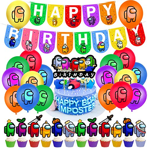 Among Us Decoración de fiesta - YUESEN Among Us de cumpleaños Accesorios para fiestas de cumpleaños para niños con guirnalda de cumpleaños feliz, decoración de tartas, globos para decoraciones