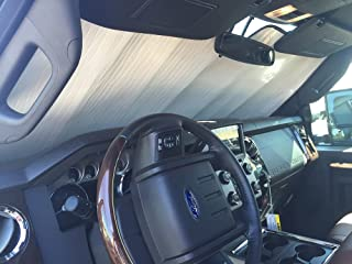 The Original Windshield Sun Shade, Custom-Fit for Ford F-250 Super Duty Truck (Crew Cab) 2008-2016, Silver Series