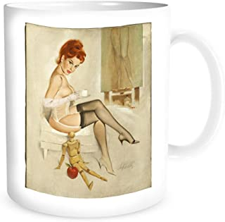 Ceramic Coffe Mug with Vintage Pin-Up, Redhead With Anna'S Mannequin, Calendar Illustration, 1966 - By Fritz Willis