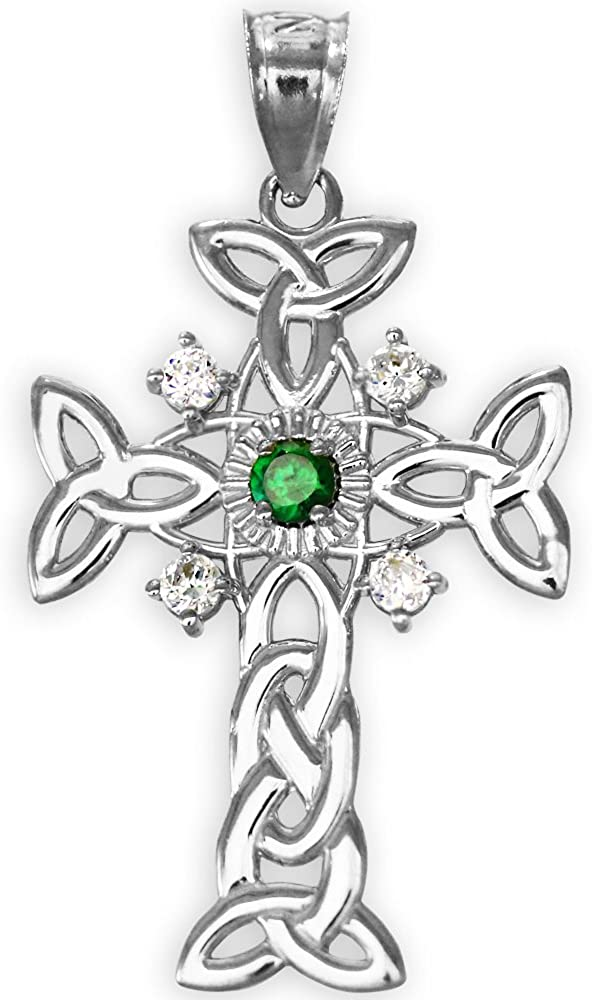 925 Sterling Silver Trinity Knot Diamond Celtic Pendant wi Quantity limited Cross New Shipping Free